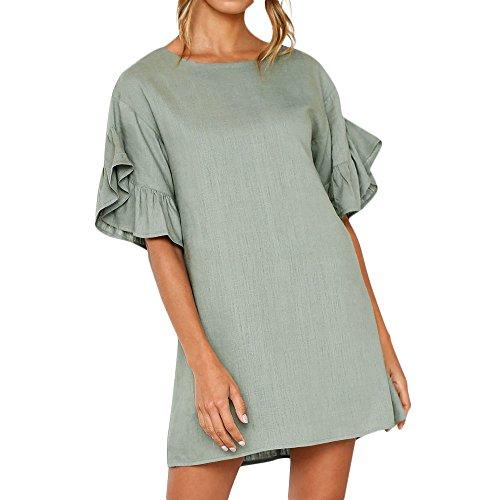 LOVESOO❤ Mini Dresses for Women Girl Summer T Shirt Solid Crew Neck Tunics Trumpet Sleeves Blouse Dresses Green