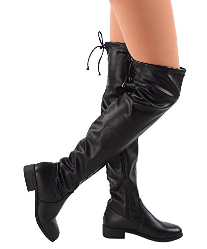 RF ROOM OF FASHION Women's Fashion Leatherette Heel Slip On Thigh High Over The Knee Boots - TO02 Black (High Leg Leather Boots)
