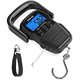 HEETA Fish Scale with Backlit LCD Display, Digital Portable Hanging Scale with Measuring Tape for Home and Outdoor, 2 AAA Batteries Included, Black
