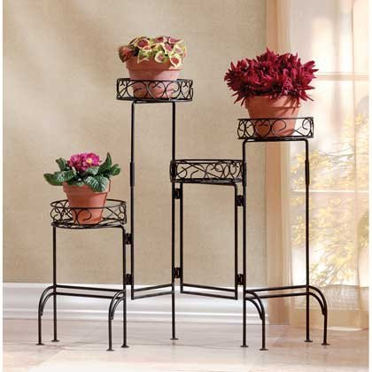 Garden Planters Black Metal Plant Stand Multi Tiered Pots Decor Indoor Outdoor Corner Tall Light Decorative