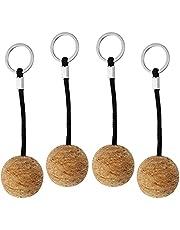 Prmape 4 st flytande kork nyckelring, flytande kork boll nyckelring, kajak kanot nyckel flyta för simning dykning fiske segling marin båt (35 mm)