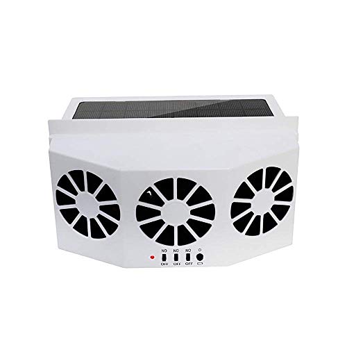STYCC Solar Powered Car Window Windshield Auto Air Vent Fan Auto Ventilator System,Exhaust Fan Vehicle Radiator Vent with Ventilation(White)