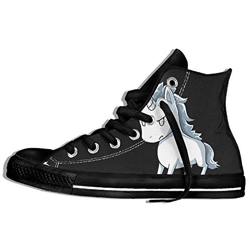 Classiche Sneakers Alte Scarpe Di Tela Anti-skid Stabby Unicorno Casual Da Passeggio Per Uomo Donna Nero
