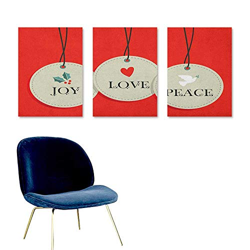 Agoza Christmas Graffiti Canvas Painting Joy Love and Peace Words Pendants Merry Christmas Holiday Celebration Theme for Living Room,Dinning Room, Bedroom 3 Panels 24x47inch Vermilion Cream