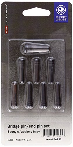 - Planet Waves Ebony Bridge Pins with End Pin Set, Abalone Inlay