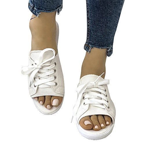 Womens Lace up Open Toe Mules Flat Slip on Backless Canvas Eyelet Slides Loafers