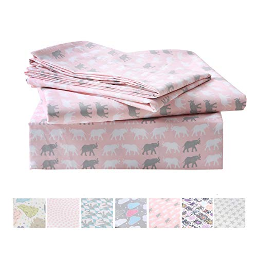 Vonty Kids Cartoon Animal Bed Sheet Set Soft Microfiber Boys and Girls Flat Sheet + Fitted Sheet + Pillowcase Bedding Set (Twin Size, Elephants) -