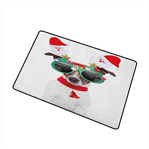 Wang Hai Chuan Christmas Front Door mat Carpet Funny Puppy Jack Russel Dog with Hilarious Sunglasses Santa Figures and Bell Machine Washable Door mat W29.5 x L39.4 Inch Multicolor