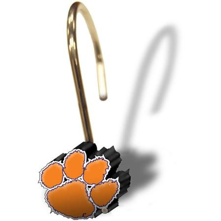 NCAA Clemson University Decorative Bath Collection 12-Pack Shower Hooks by NCAA