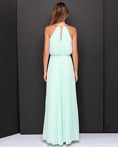 Mujer Cabestro de Vestido de Vestido Sin Azul Vestido Largo Gasa Mangas Coctel Ligero Fiesta Vestidos EYT4xq1B4