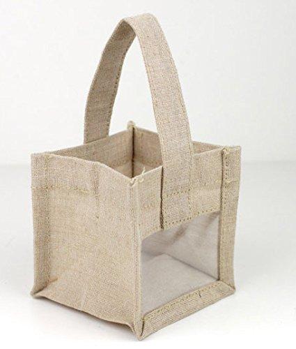 Side Areas Imprint (PoshNPretty Mini Rustic Wedding Favor Burlap Tote Bag with Clear Window - 6 Bags)