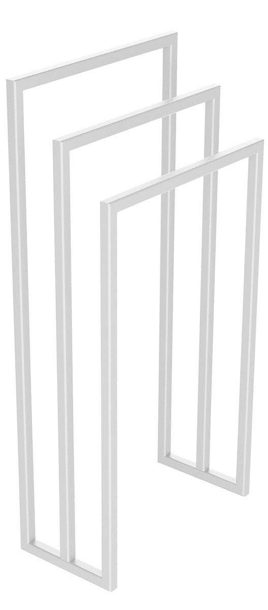 HOLZBRINK Metall Handtuchhalter f/ür Badezimmer Kleiderst/änder Freistehender Handtuchst/änder mit 3 Stangen 84x60x20 cm HxBxT HLMH-01B-84-60-9016 Verkehrsweiss