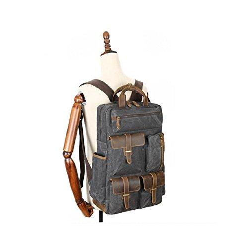 LF&F LäSsige Rucksack Hochwertige ÖL Wachs Leinwand / Crazy Horse Leder Rucksack Herren Outdoor Sport Rucksack College Tasche Klassische Luxus Rucksack 20L KapazitäT C Kt6m8Y4kNK