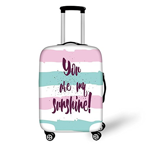 Travel Luggage Cover Suitcase Protector,Quotes Decor,Horizontal Striped Setting with Sunshine Phrase on Foreground Love Romance Theme,Multi,for Travel by iPrint (Image #6)
