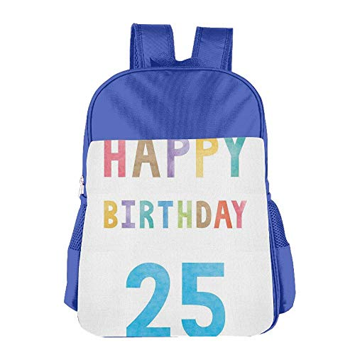 Haixia Kid Boys'&Girls' Backpacks 25th Birthday Decorations Pastel Watercolor Letters On White Backdrop Number Twenty Five by Haixia