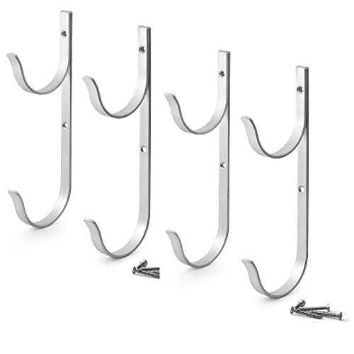 Aquatix Pro Pool Pole Hanger Premium 4pc Aluminium Holder Set, Ideal Hooks for Telescopic Poles, Skimmers, Leaf Rakes, Nets, Brushes, Vacuum Hose, Garden Tools and Swimming Pool Accessories