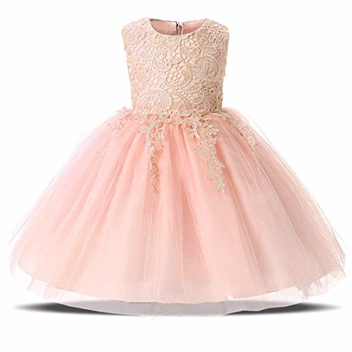 Easter Wedding (Weileenice 1-12T Big/Little Girl Flower Lace Sleeveless Dresses Bowknot Birthday Tulle Dress For Communion Party Wedding)