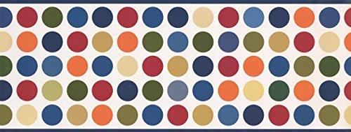 (Colorful Circles Aegean White Polka dot WK9386B Wallpaper Border)