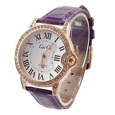 Romano de la Mujer de diseño Número de PU analógico de pulsera de cuarzo relojes de