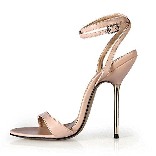 heel Sandalias Alto Mostrar Shoes El Skin Verano Pu Femenina Tone De Simple Con Multa Color Acero zqvrxzwFB