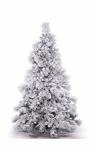 Qualitex Flocked Artificial Christmas Tree Shop White Decoration Unit With Stand No Tools Requirement Best Holiday Decor 6 Feet Height (For Artificial Walmart Trees Christmas Tree Stands)
