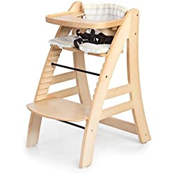 Sepnine Height Adjustable Wooden Highchair Baby High Chair with Padded Cushion 6511 (Natural)