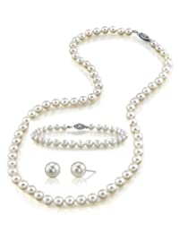 "14K Gold 7-8mm White Freshwater Cultured Pearl Necklace, Bracelet & Earrings Set, 18"" Princess Length - AAA Quality"