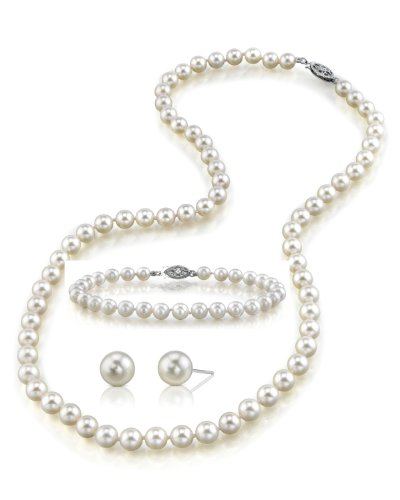 14K-Gold-60-65mm-White-Akoya-Cultured-Pearl-Necklace-Bracelet-Earrings-Set-17-AA-Quality