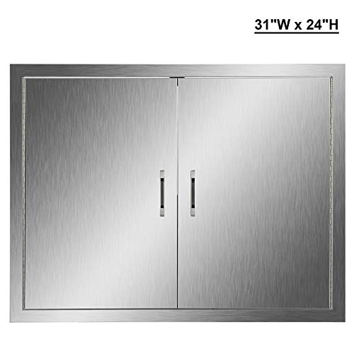 (CO-Z Outdoor Kitchen Doors, 304 Brushed Stainless Steel Double BBQ Access Doors for Outdoor Kitchen, Commercial BBQ Island, Grilling Station, Outside Cabinet, Barbeque Grill, Built-in (31