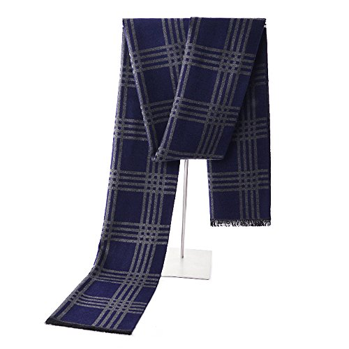 Mens Winter Cashmere Scarf - Ohayomi Fashion Formal Soft Scarves for Men(Navy/Grey Stripe)