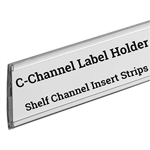 Stick on C Channel Insert Strip, 48'' L Adhesive Wood Metal & Plastic Shelf UPC Label Holder, 100 Pack