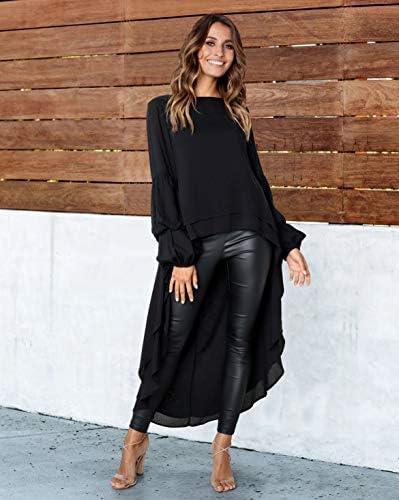 PRETTYGARDEN Women's Lantern Long Sleeve Round Neck High Low Asymmetrical Irregular Hem Casual Tops Blouse Shirt Dress 2