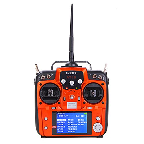 RadioLink AT10 2.4G 10CH Remote Control System Transmitter with R10D Receiver and PRM-01 Voltage Return Module Mode 2 Version Orange Color