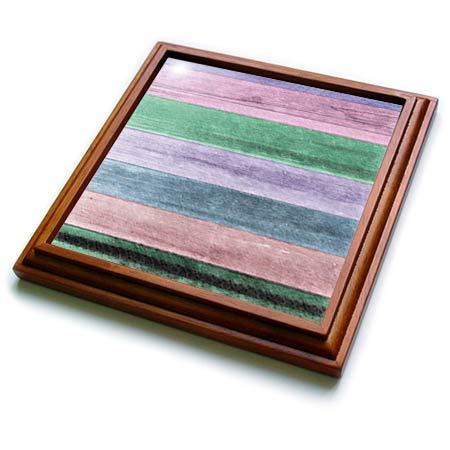 3dRose lens Art by Florene - Wooden Board Textures - Image of Rustic Pink Green And Purple Barnwood - 8x8 Trivet with 6x6 ceramic tile (trv_292467_1)