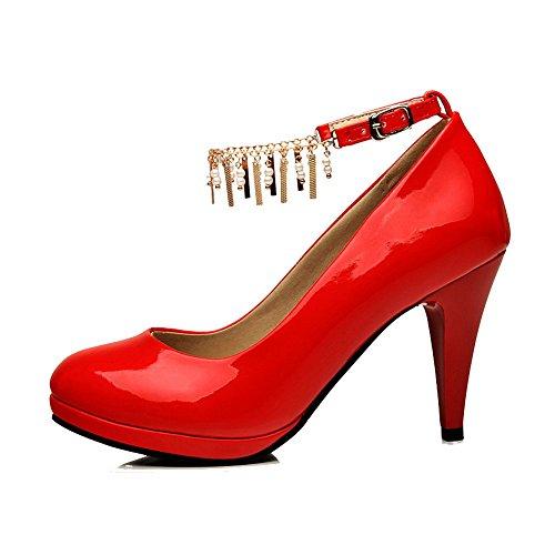 Rosso Della Rotondo calzature Talloni Weipoot Dell'inarcamento Punta Femminile Solido Chiuso Alti Pompe qPppgB