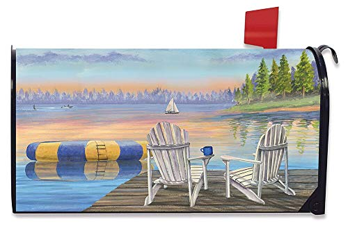 Briarwood Lane Waterfront Retreat Nautical Magnetic Mailbox Cover Summer Adirondack Chairs ()