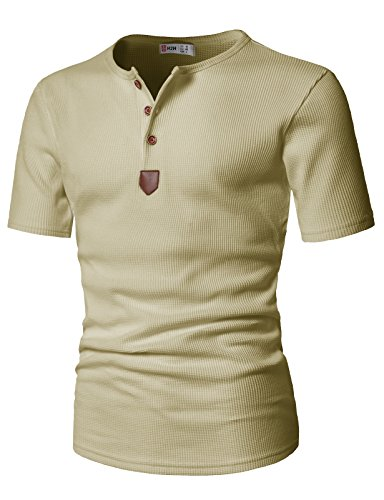 H2H Mens Short Sleeve Henley T-shirts with Waffle Knitted Fabric,JDSK31-BEIGE,US Large (Asia X-Large)