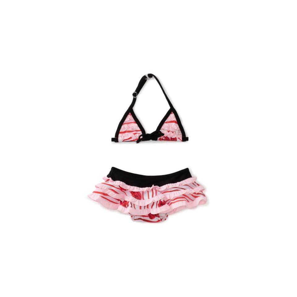 Floatimini Baby Girls Infant Rose Print Bikini Swimwear, Red, 6 12 Months