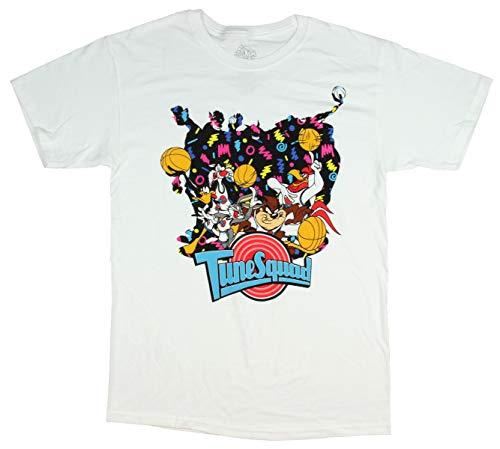 Youth Looney T-shirt Tunes - Bioworld Looney Tunes Space Jam Shirt Tune Squad Men's Movie Poster T-Shirt,White,Medium