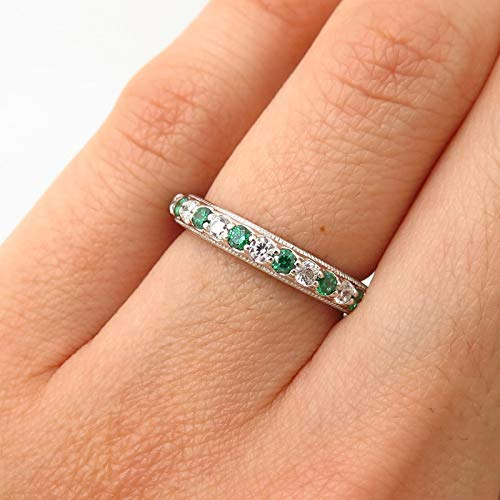 - 925 Sterling Silver Tacori White & Emerald-Tone C Z Eternity Ring Size 5 1/4 Jewelry by Wholesale Charms