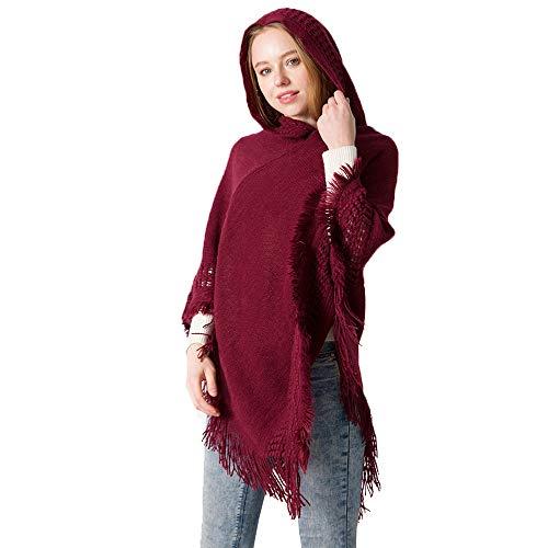 cm con 135 rosso a all'uncinetto donne cappuccioorlo maglia di Qqi frangemodelli le di 175 vino poncho per donna 4RLjq5A3