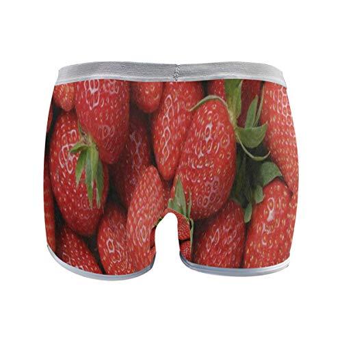 (Women's Regular Plus Size Underwear,Fresh Red Strawberry Fruit Stretch Boxer Briefs Boyshort Panties for Girls XL)
