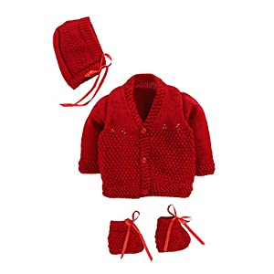 Hopscotch Bubbles Boys and Girls Wool Full Sleeves Sweaters in Red Color