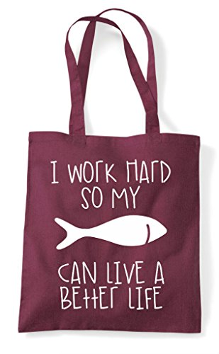 Hard A Have Fish Better My So Life Burgundy Animal Funny Tote Themed Can Cute Work Shopper Bag I 5qFU0