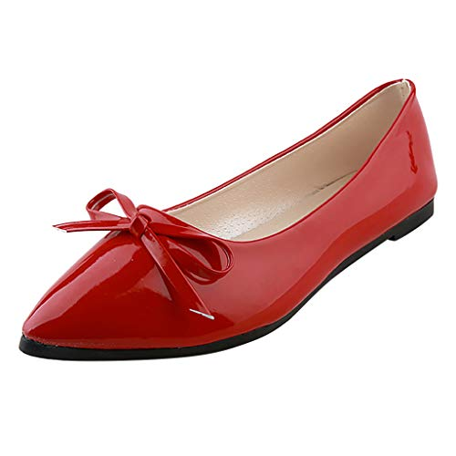 (LYN Star✨ Women's Tali Bow Ballet Flat Comfortable Bow Point Toe Flat Pumps Slip On Shoes Classic Mugara Ballet-Flat Red)