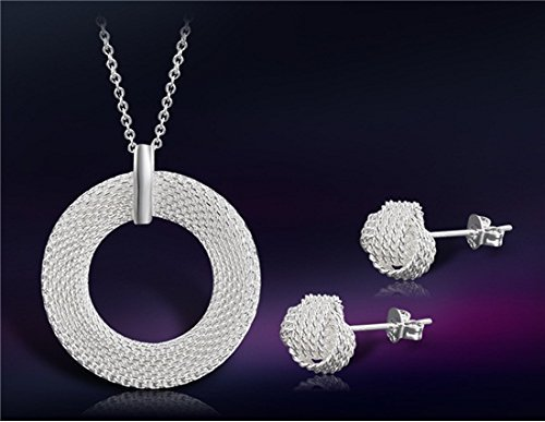 925 Sterling Silver Plated White Copper Alloy Round Net Necklace & Earrings (Copper 18k Plated)