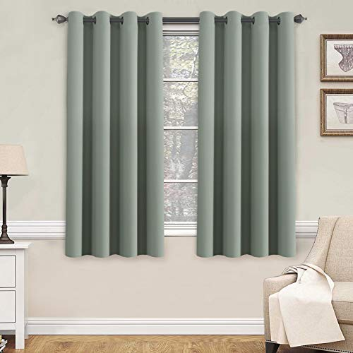 (H.VERSAILTEX Blackout Room Darkening Thermal Insulated Grommet Window Curtain for Living Room, Sage,52x63-inch,Sold by 2 Panels)