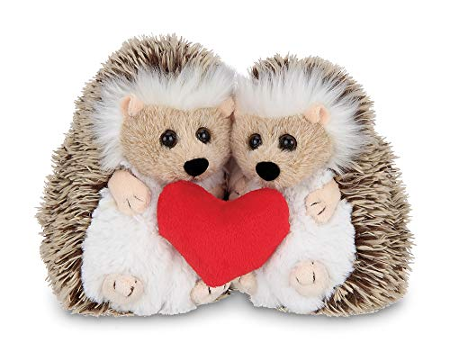 Bearington Lovie and Dovey Plush Stuffed Animal Hedgehogs Holding Heart, 5.5 inches -