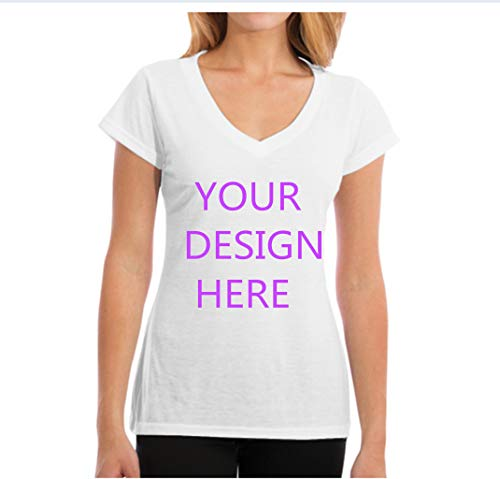 Custom V Neck T Shirts for Women s-XXL- Make Your OWN Shirt - Add Your Number Text Printing White]()