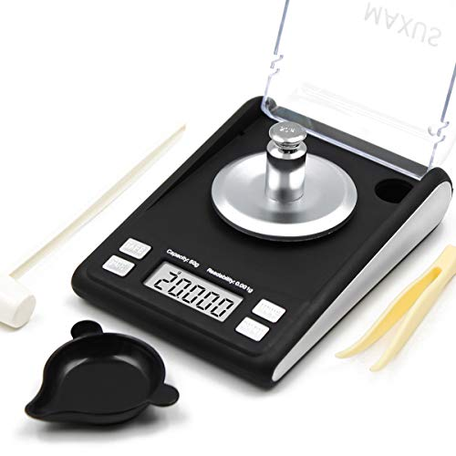 Milligram Reloading Scale 50g x 0.001g includes 20g Calibration Weight, Scoop, Powder Pan and Tweezers Read in Grain Gram Carat Pennyweigh oz ozt High Precision Jewelry Scale DANTE by MAXUS (Black)
